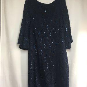 NWT Tiana B Sequin Formal Dress 3/4SleevesLow Back